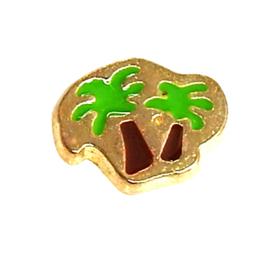 palmbomen,  goudkleurige charm voor in het medaillon