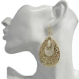 uitgewerkte lange oorbellen Gold