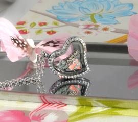 hartvormig locket memory medaillon met steentjes en ketting