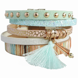 armband Bohemian blauw goud