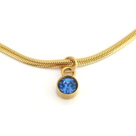 Saffier blauwe bedel ketting, stainless steel