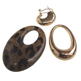 3 delige druppel oorbellen, bruin