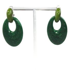 dangle creool oorbellen Groen, 2 delig