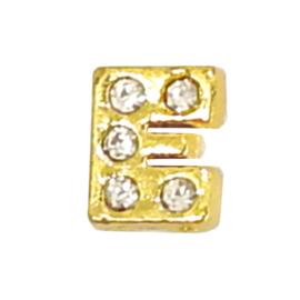 Letter E goudkleur, charm voor in het medaillon