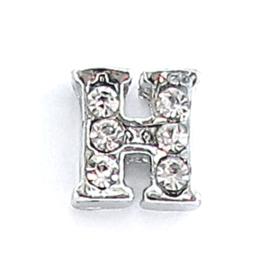 letter H, charm voor in het medaillon