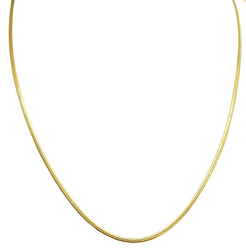 goudkleurige platte slangenketting, 45 cm