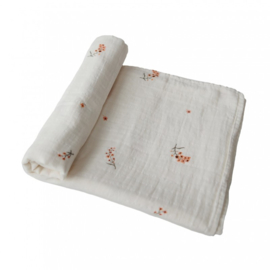 Mushie swaddle flowers