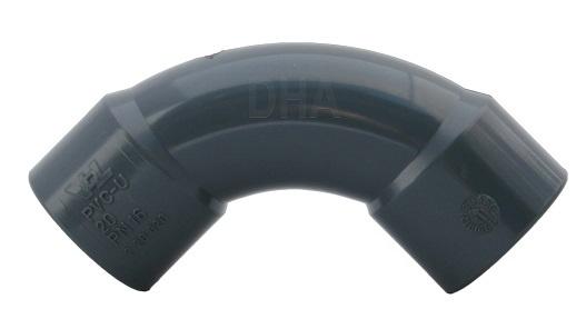 PVC bocht 90 graden 20 mm