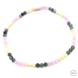 Rozekwarts kralen, India Agaat kralen en gele Jade kralen