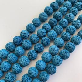 Lavasteen kralen blauw 8 mm rond