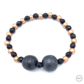 Onyx armband  20.5 cm geregen op elastiek