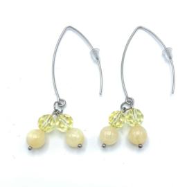 RVS oorbellen Jade en Swarovski Jonquil yellow nr. 38