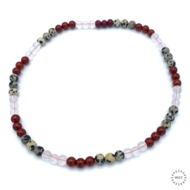 Jaspis Dalmatiër kralen, Agaat rood kralen en Bergkristal kralen
