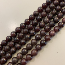 Granaat kralen rood 6 mm rond