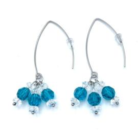 RVS oorbellen Bergkristal en Swarovski Blue Zircon nr. 14
