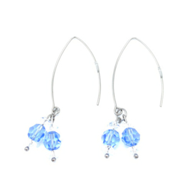 RVS oorbellen Bergkristal en Swarovski Light Sapphire nr. 5