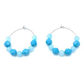 RVS oorbellen Agaat blauw en Swarovski Turquoise Blue