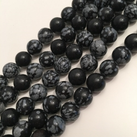 Obsidiaan Sneeuwvlok kralen 10 mm RUIG