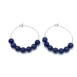 RVS oorbellen Lapis Lazuli