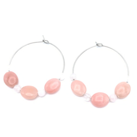 RVS oorbellen Opaal roze en Rozekwarts