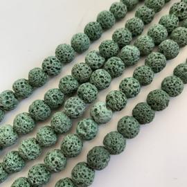 Lavasteen kralen groen 8 mm rond