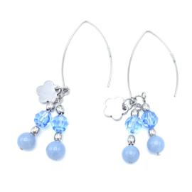 RVS oorbellen Lazuliet en Swarovski Light Sapphire nr. 65
