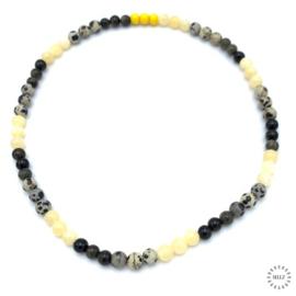Jade geel kralen, Jaspis Dalmatiër kralen en Obsidiaan goud kralen