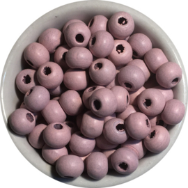 Houten kralen paars 6 mm