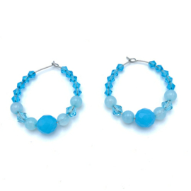RVS oorbellen Agaat blauw en Tsjechisch glas