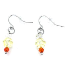 RVS oorbellen Bergkristal en Swarovski Jonquil Yellow