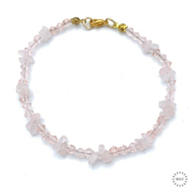 Rozekwarts armband 21.5 cm