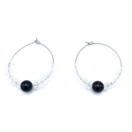 RVS oorbellen Agaat zwart en Bergkristal