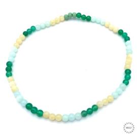 Agaat groen kralen, lichtgroene Jade kralen en gele Jade kralen