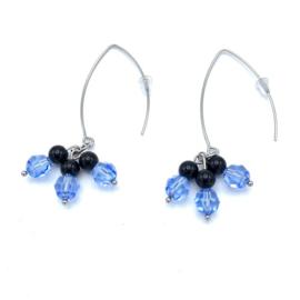 RVS oorbellen Agaat en Swarovski Light Sapphire