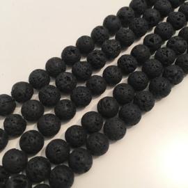 Lava kralen zwart 8 mm rond