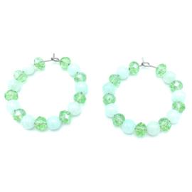 RVS oorbellen Jade en groene Top facet glaskralen