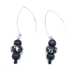 RVS oorbellen Obsidiaan en Onyx