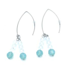 RVS oorbellen Bergkristal en Swarovski Pacific Opal