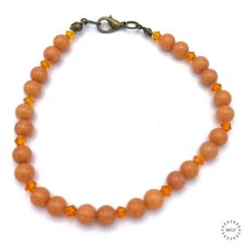 Marmer armband oranje 23 cm