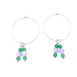 RVS oorbellen Aventurijn en Lavendel Jade