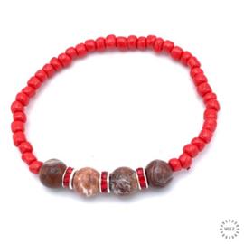 Agaat Crazy Lace armband 17-18 cm geregen op elastiek