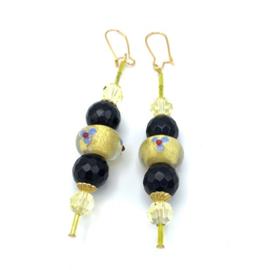 Onyx oorbellen goudplated