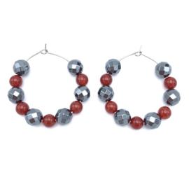 RVS oorbellen rode Agaat en Hematine