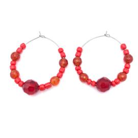 RVS oorbellen rode Agaat en Tsjechisch glas