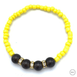 Obsidiaan armband 17-18 cm geregen op elastiek