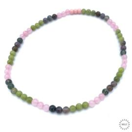 Rozekwarts kralen, India Agaat kralen en groene Jade kralen