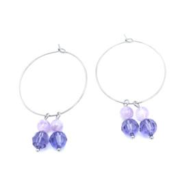 RVS oorbellen Lavendel Jade en Swarovski Tanzanite
