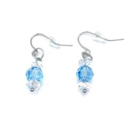 RVS oorbellen Bergkristal en Swarovski Aquamarine nr. 7