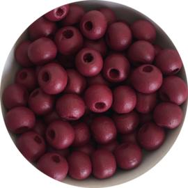 Houten kralen rood 6 mm