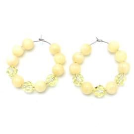 RVS oorbellen Jade geel en Swarovski Jonguil